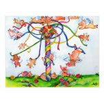 Flying Pigs Around the Maypole Postcard