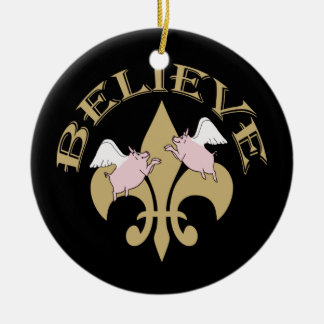 Flying Pigs Believe Black Gold Fleur de Lis Christmas Ornament