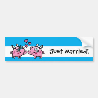 Flying pigs brides just married gay marriage bumper sticker