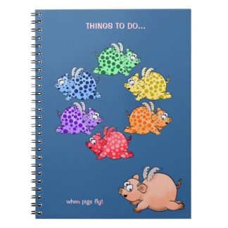 Flying pigs color wheel notebook. notebooks