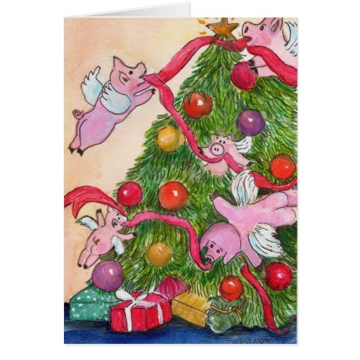 Flying Pigs Decorate the Christmas Tree Card