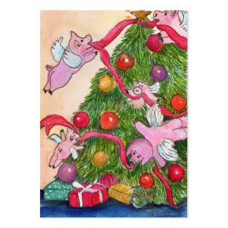 Flying Pigs Decorate the Christmas Tree Gift Tags Business Card