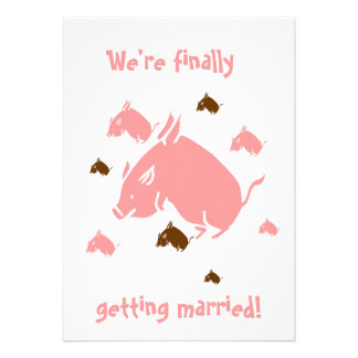 flying pigs finally getting married invitations