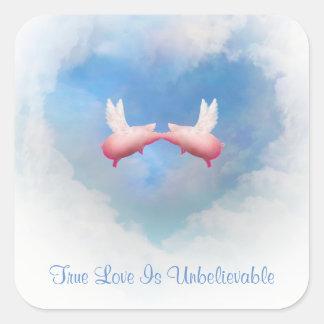 Flying Pigs Kiss-True Love Is Unbelievable Sticker