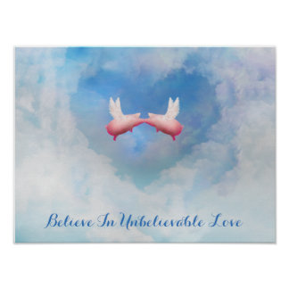 Flying Pigs Kissing-Believe In Unbelievable Love Poster