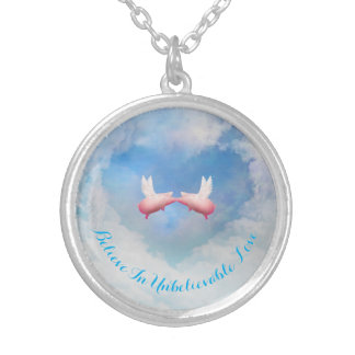 Flying Pigs Kissing-Believe In Unbelievable Love Silver Plated Necklace
