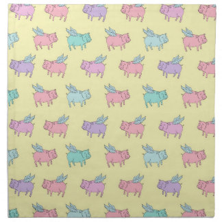 Flying pigs - pastel yellow napkin