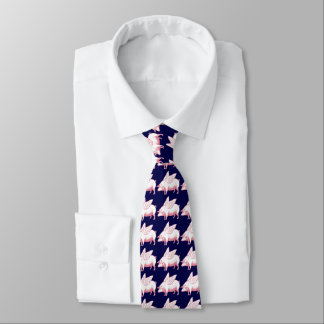 Flying Pigs Pattern On Navy Blue Tie