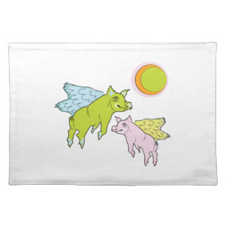 Flying Pigs Cloth Place Mat