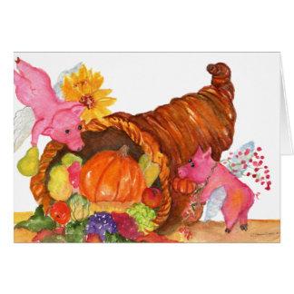 Flying Pigs Thanksgiving Cornucopia Horn Of Plenty Card