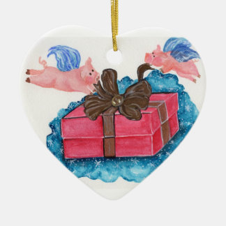 Flying Pigs Wrap a Package Christmas Ornament