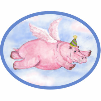 Flying Pink Hippo in a Party Hat Ornament Photo Sculpture Decoration