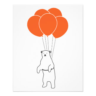 Flying Polar Bear with Balloons 11.5 Cm X 14 Cm Flyer