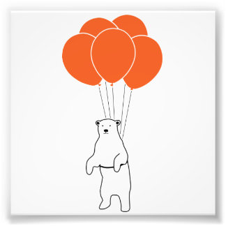 Flying Polar Bear with Balloons Photo Print