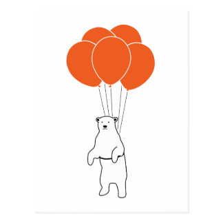 Flying Polar Bear with Balloons Post Cards