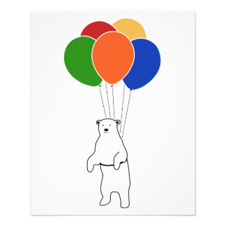 Flying Polar Bear with Birthday Balloons Flyer Design
