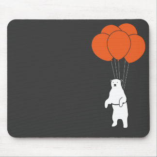 Flying Polar Bear with Birthday Balloons Mouse Pad