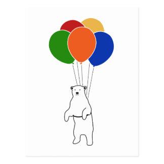 Flying Polar Bear with Birthday Balloons Postcards