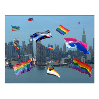 Flying Pride Over New York Postcard