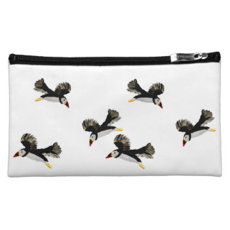 Flying Puffin Fun Art Makeup Bag