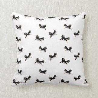 Flying Puffin Fun Throw Pillow