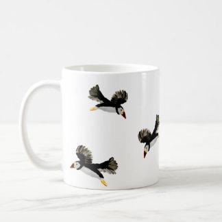 Flying Puffins Art Basic White Mug