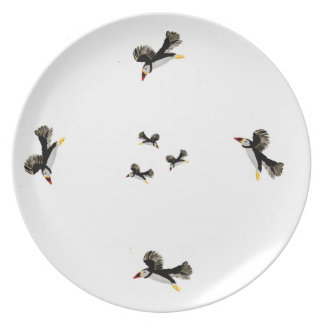 Flying Puffins Art Plate