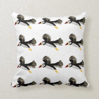 Flying Puffins Bird Art Throw Pillow