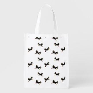 Flying Puffins Fun Bird Art Reusable Grocery Bag