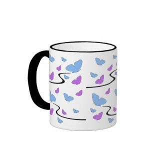 Flying, purple & blue butterflies mug