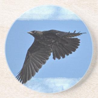 Flying Raven Modern Art in Blue Coaster