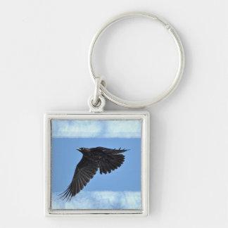 Flying Raven Modern Art in Blue Key Ring