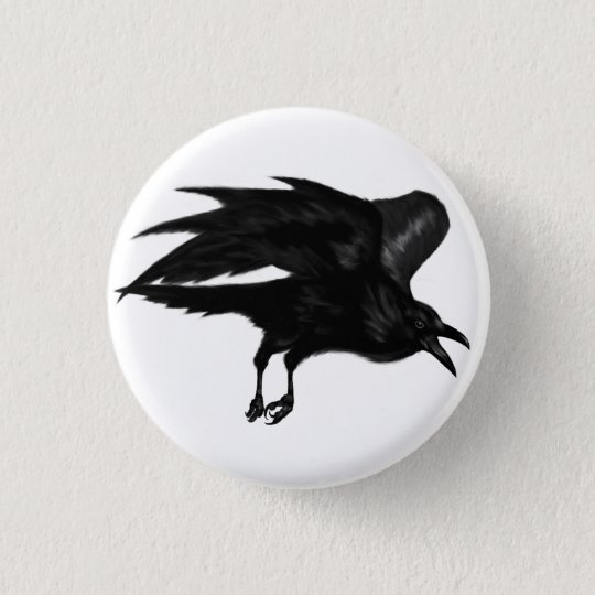 Flying Raven Pin Button