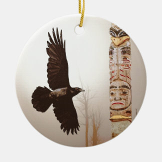 Flying Raven & Totem-Pole Fantasy Art Christmas Ornament