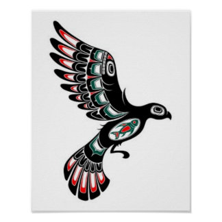 Flying Red and Black Haida Spirit Bird, white Posters
