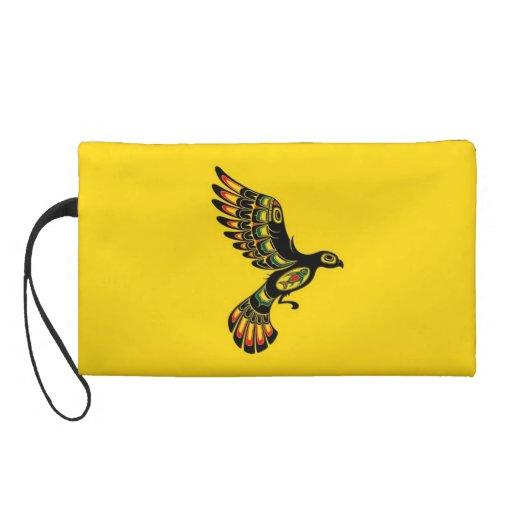 Flying Red and Black Haida Spirit Bird, yellow Wristlets