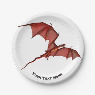 "Flying Red Dragon Custom Paper Plates 7"""