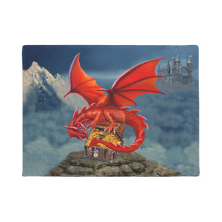 Flying Red Dragon's Treasure Chest Doormat
