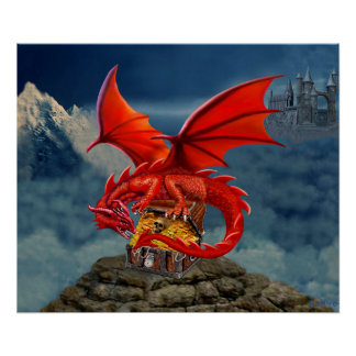 Flying Red Dragon's Treasure Chest Poster
