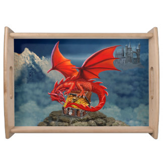 Flying Red Dragon's Treasure Chest Serving Tray