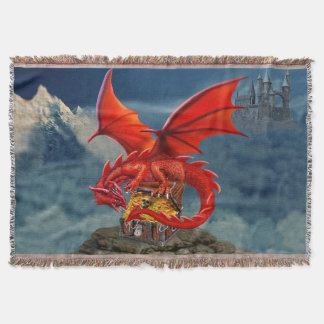 Flying Red Dragon's Treasure Chest Throw Blanket