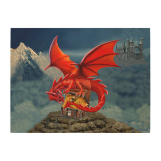 Flying Red Dragon's Treasure Chest Wood Print