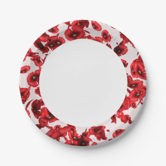 Flying Red Poppies Edged Paper Plates 7 Inch Paper Plate