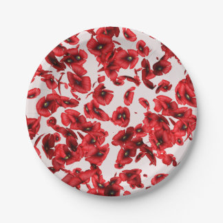 Flying Red Poppies Paper Plates 7 Inch Paper Plate
