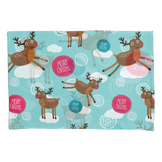 Flying Reindeer wishing all a Merry Christmas Pillowcase