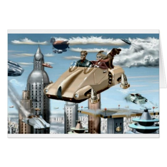Flying Retro Future Car Card