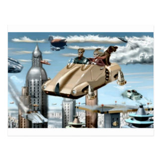 Flying Retro Future Car Postcard