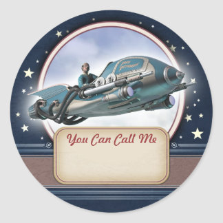 Flying Retro Rocket Name Tag Stickers