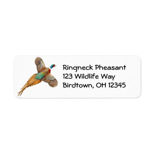 Flying Ring Necked Pheasant Label Return Address Label