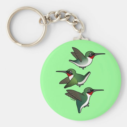 Flying Ruby-throated Hummingbird Basic Round Button Key Ring